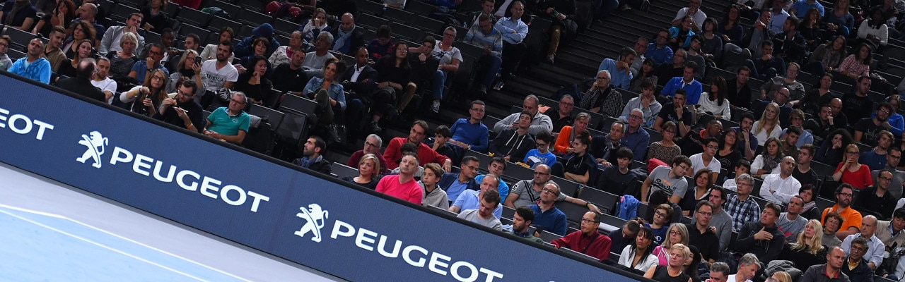 ATP World Tour - View of the spectators and the Peugeot logo, official partner